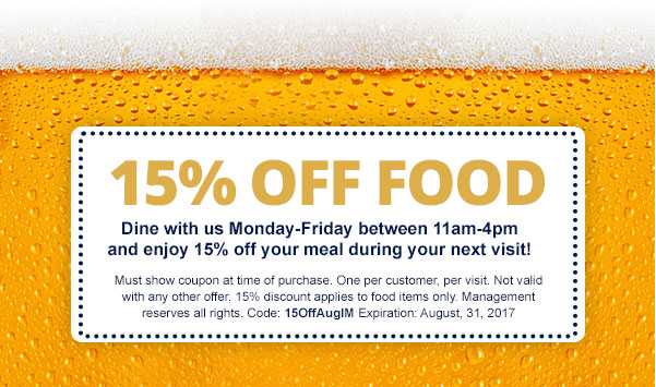Get 15% Off Food!
